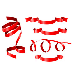 curled ribbons collection red ribbon banners vector image