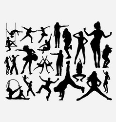 dancing male and female silhouette vector image