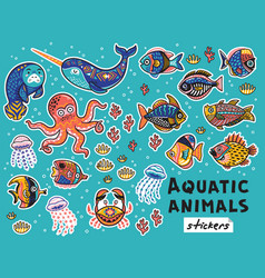Decorative aquatic animals and fishes set vector