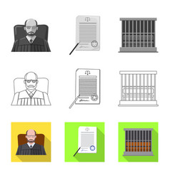 design of law and lawyer symbol collection vector image
