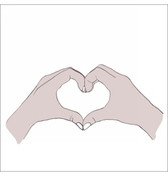 Digital female hands in heart form vector