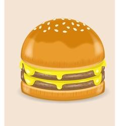 Double Cheese Poke Hamburger vector image