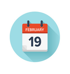 February 19 flat daily calendar icon date vector