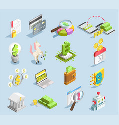 Financial technology isometric set vector