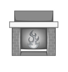 fireplace icon monochrome vector image