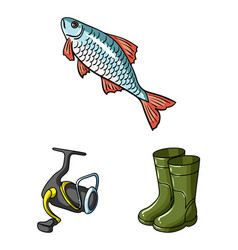 Fishing and rest cartoon icons in set collection vector