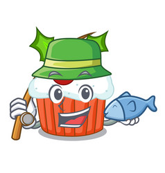 Fishing decorated christmas cupcakes cartoon for vector