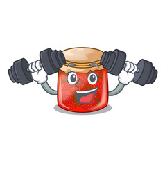 Fitness character homemade strawberry marmalade in vector