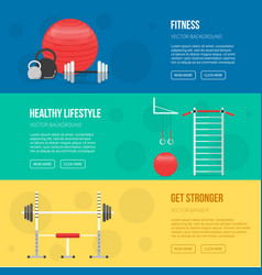 Fitness training and gym club banners vector