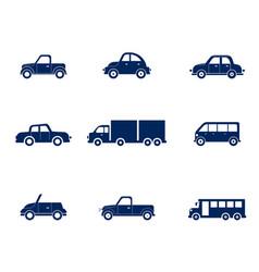 flat cars set taxi and minivan cabriolet vector image