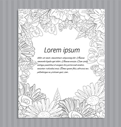 Floral hand-drawn wedding invitation vector image
