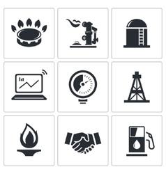 Gas trade icon collection vector