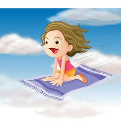 Girl flying on mat vector