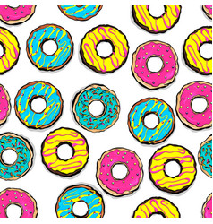 glazed doughnut seamless pattern pop art vector image
