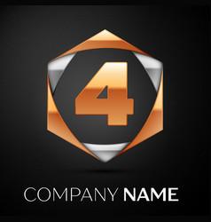 gold number four logo in golden-silver hexagonal vector image