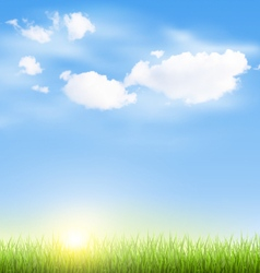 Grass lawn with clouds and sun on blue sky vector