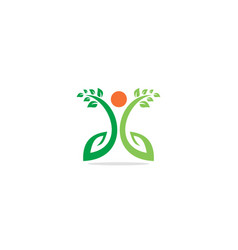 green leaf organic people logo vector image