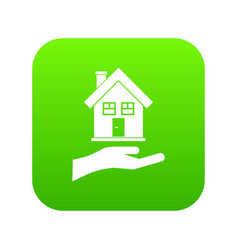 Hand holding house icon digital green vector