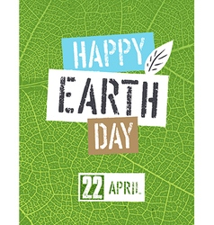 Happy Earth Day Logotype On green leaf veins vector