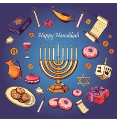 Happy Hanukkah holiday greeting background vector