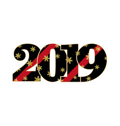 happy new year card black red number 2019 with vector image