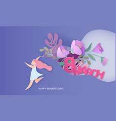 happy women day holiday card paper cut style vector image