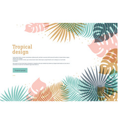 Horizontal tropical banner in pastel colors vector