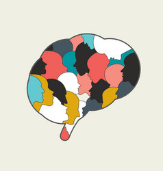 Human brain mind full people heads vector