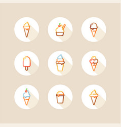 Ice cream circle icons vector