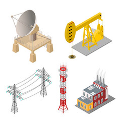 industrial objects set isometric view vector image