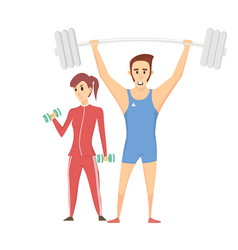 label fitness club with image women and men vector image