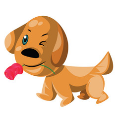 light brown dog holding a pink rose in his mouth vector image