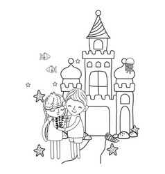 Line boy and girl with heart in the castle stars vector