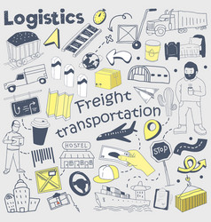 logistics service hand drawn doodle delivery vector image