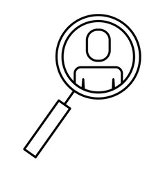 magnifier with business man ico vector image