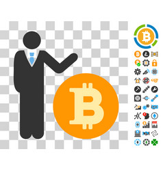 Manager show bitcoin coin icon with bonus vector