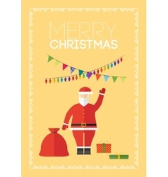 Merry christmas gift card with Santa Claus vector
