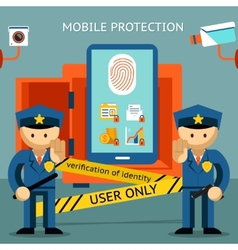 Mobile phone protection Financial security and vector image