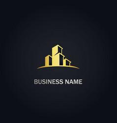 modern building business gold logo vector image