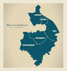 Modern map - warwickshire county with cities and vector
