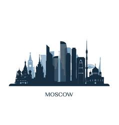 Moscow skyline monochrome silhouette vector
