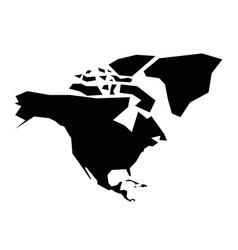 North america black silhouette contour map of vector