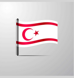 Northern cyprus waving shiny flag design vector