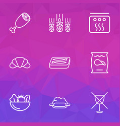 nutrition icons line style set with ham potato vector image