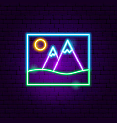 picture landscape neon sign vector image
