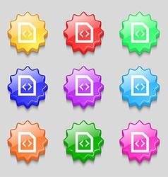 Programming code icon sign symbol on nine wavy vector image vector image