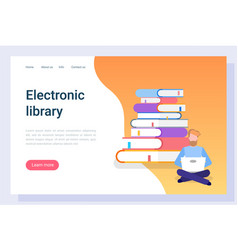 reader with computer electronic library vector image