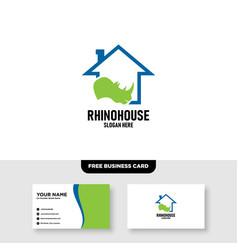 Rhino farm design free business card template vector