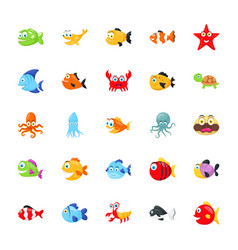 Sea animals pack vector