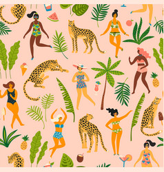 Seamless pattern with dancing ladyes in vector